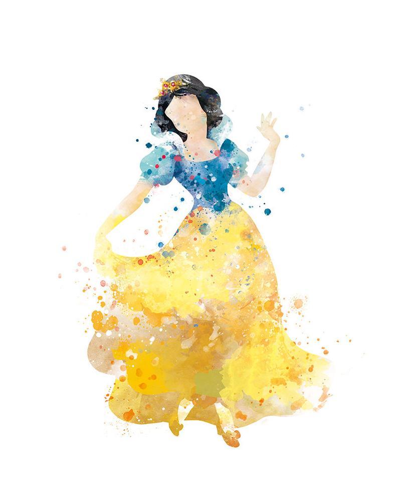 Neige blanche neige impression blanc Art aquarelle peinture Disney princesse Disney Art Print princesse affiche Noël cadeau pépinière enfant Decor