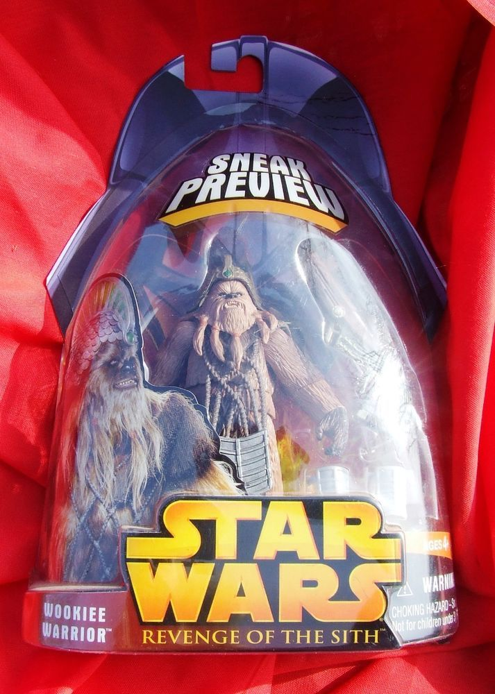 Star Wars Revenge of the Sith Wookiee Warrior Action Figure New On Card #Hasbro