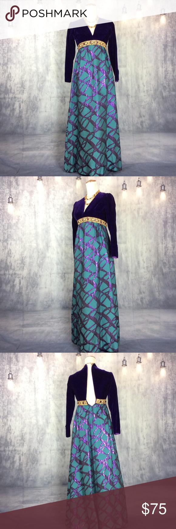 Indigo velvet abstract brocade dressfinal price my posh closet