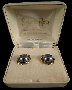 Solera Real Simulated Pearl Earrings 14k Gold Over Sterling Price 110 Ebay