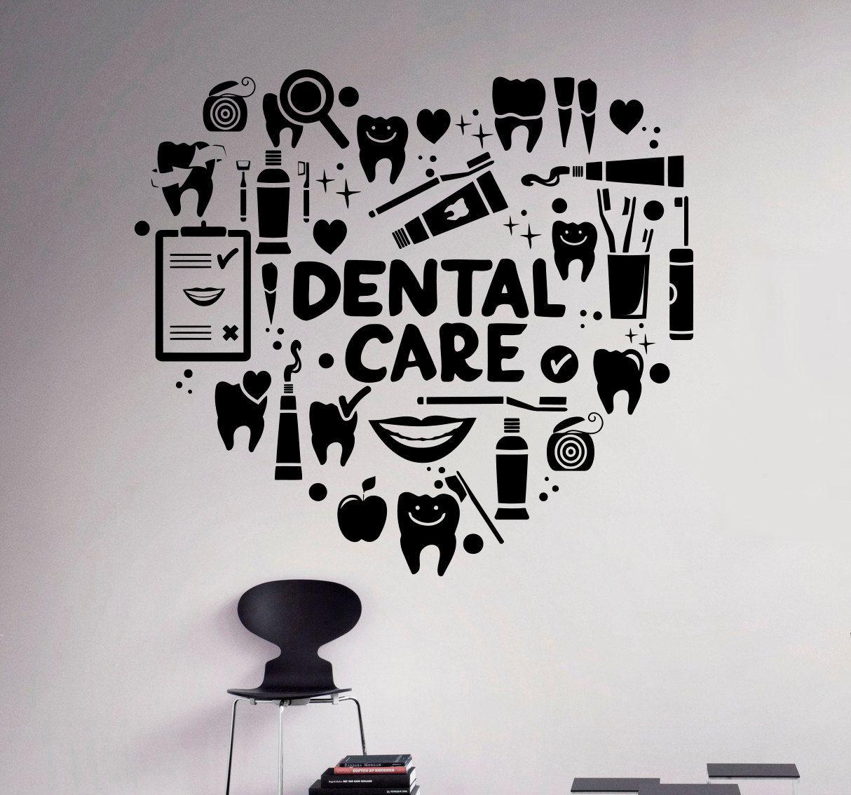 Dental Care Wall Decal Dentist Vinyl Sticker Wall Art Decor Etsy Dental Art Dental Office Decor Dental Design