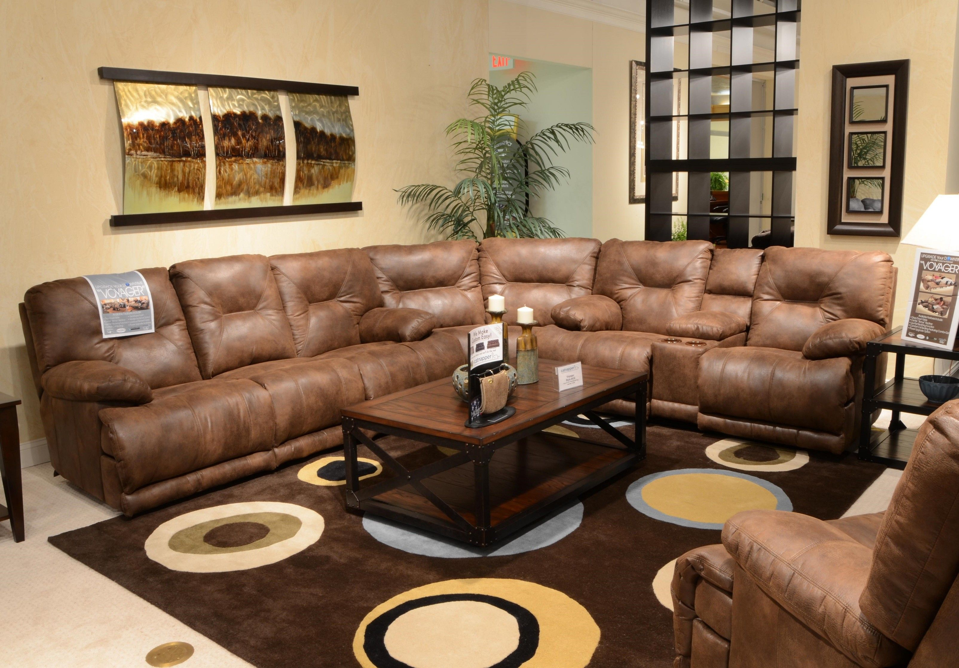 Sectional Brown Leather Reclining Sofa Sets With Brown Sectional