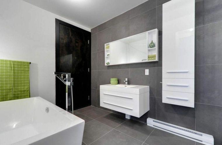carrelage gris deco mur salle de bain moderne Salle de bain - Salle De Bain Moderne Grise