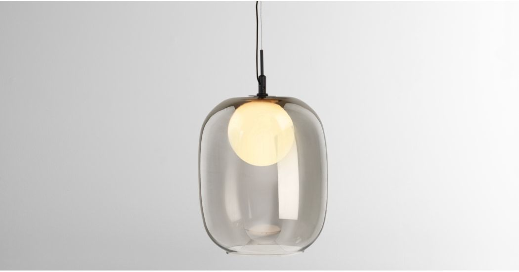 Masako Led Glass Pendant Smoked And Opal Glass Leaded Glass Glass Lamp Glass Pendants