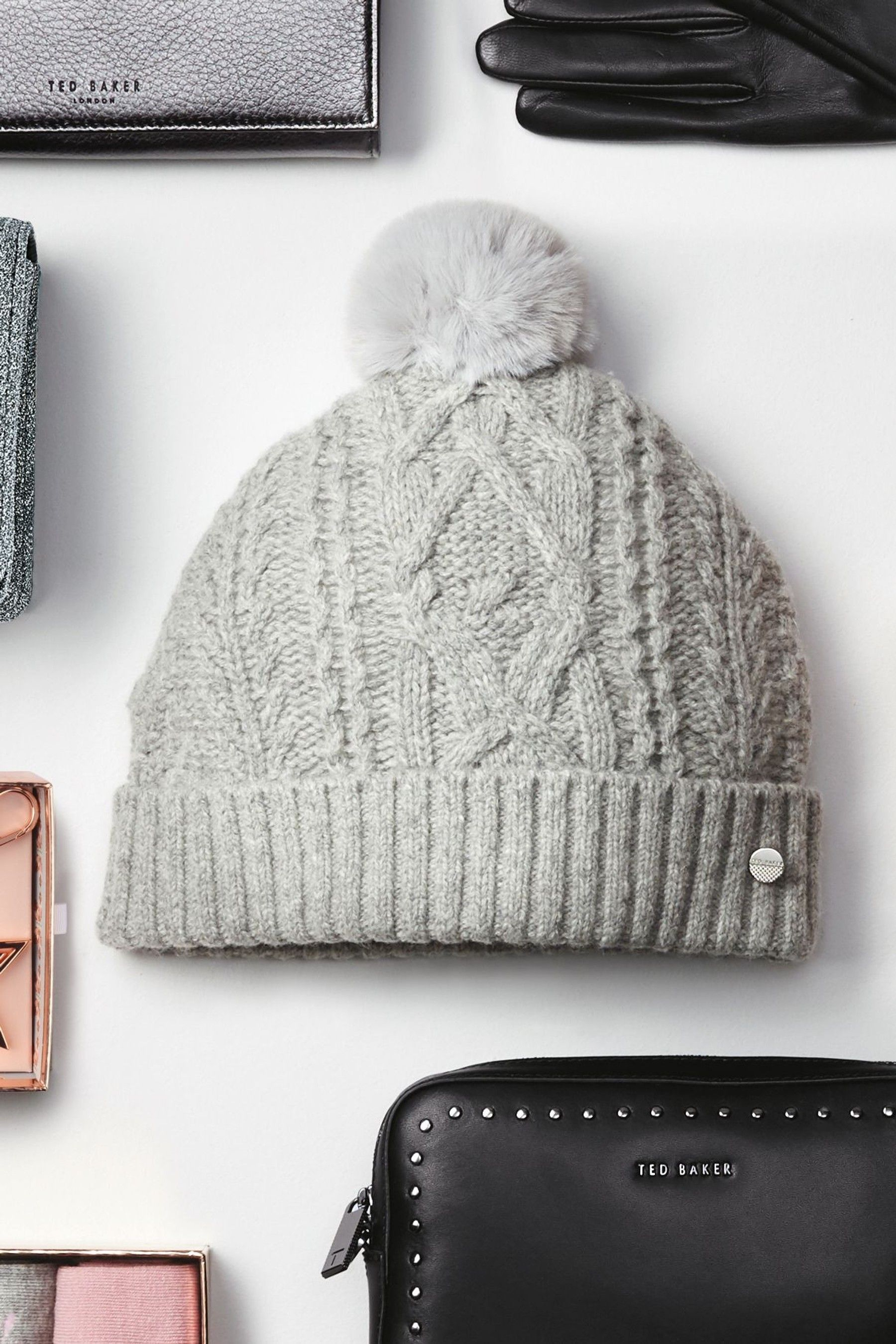 4bef4b12a Womens Ted Baker Quirsa Cable Knit Pom Hat - Grey | Products | Hats ...