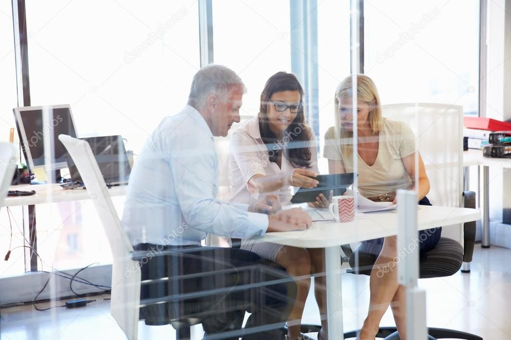 Group of colleagues on meeting in an office Stock Photo