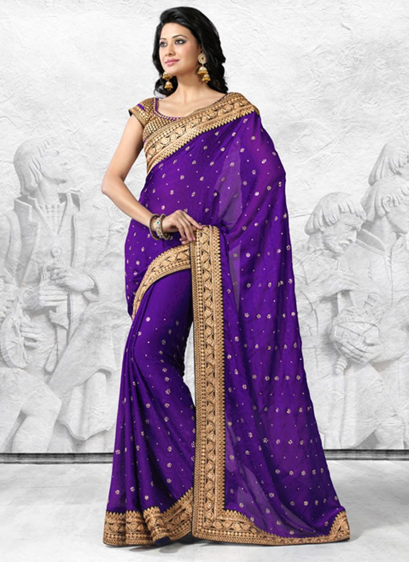 Violet Chiffon Jacquard Saree | sari | Pinterest | Moda india y India