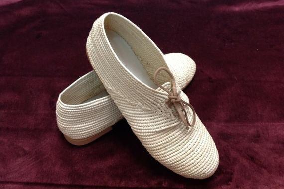 Oxfords raffia shoes women Moroccan raffia shoes handmade oxfords boho chic shoes lace up rafia flats – Products
