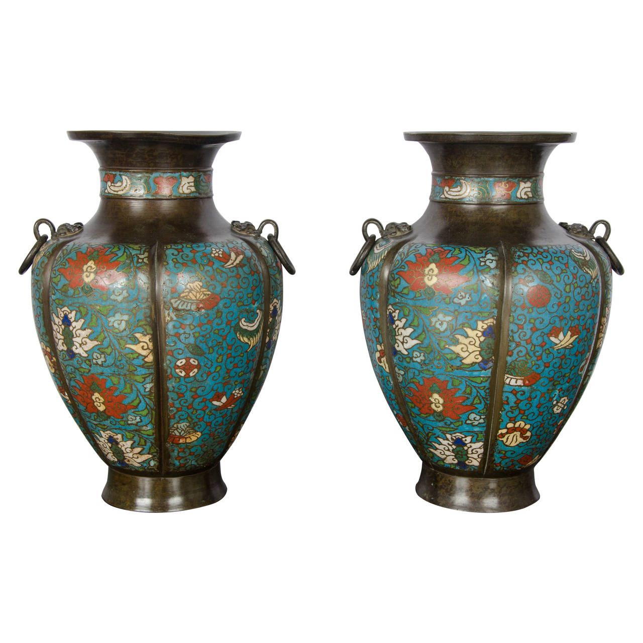 Pair Of 19th Century Chinese Cloisonne Vases