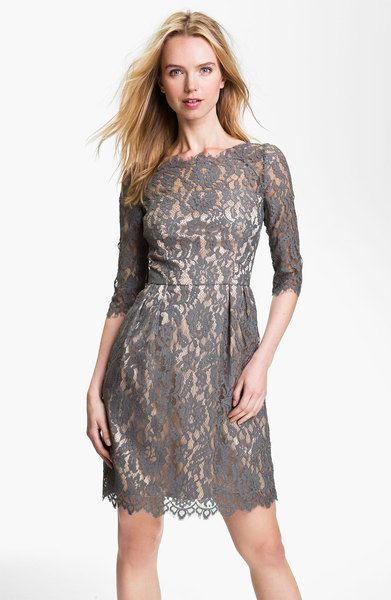 da5804f9 Grey Lace Dress | Milly Stella Lace Sheath Dress in Gray (grey) - Lyst