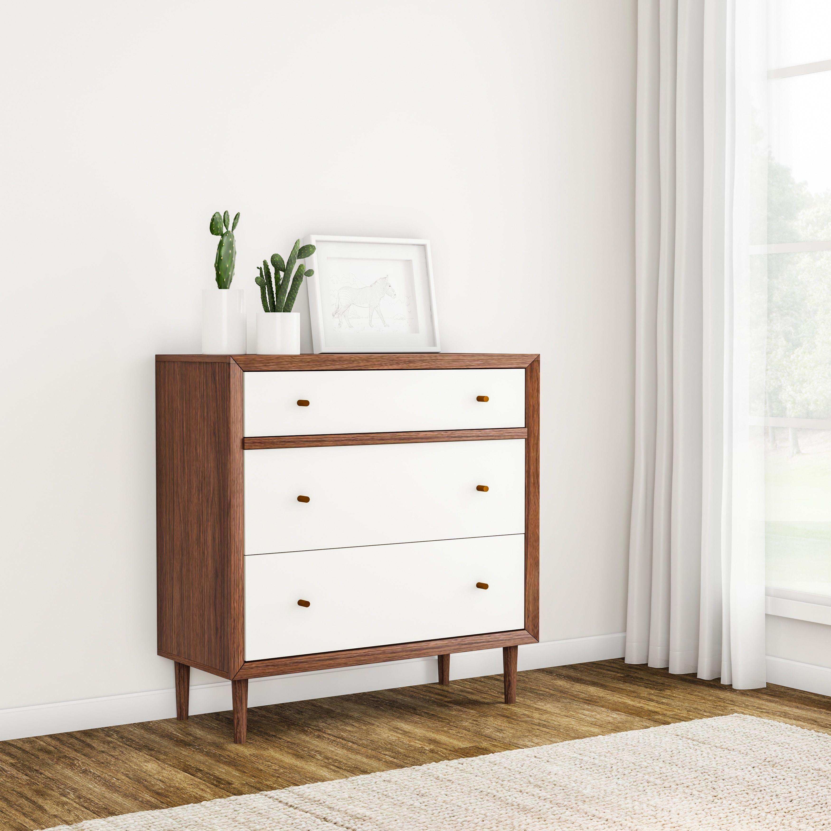 Carson Carrington Trollhattan Mid Century Modern White And Walnut Wood 3 Drawer Chest Chest White Walnut Brow Furniture White Bedroom Furniture Home Furniture