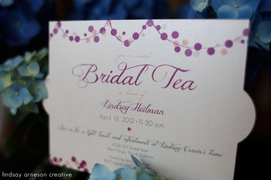 cute pink and purple bridal shower invitations www.lindsayarnesoncreative.com