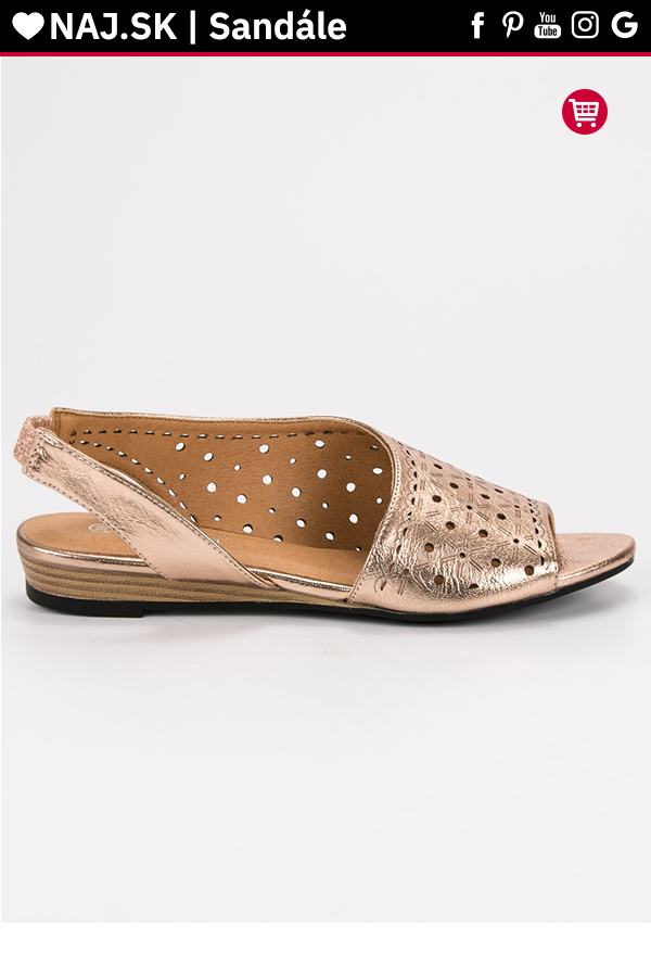 5b0cbf8130 Ažúrové zlaté sandále VINCEZA in 2019