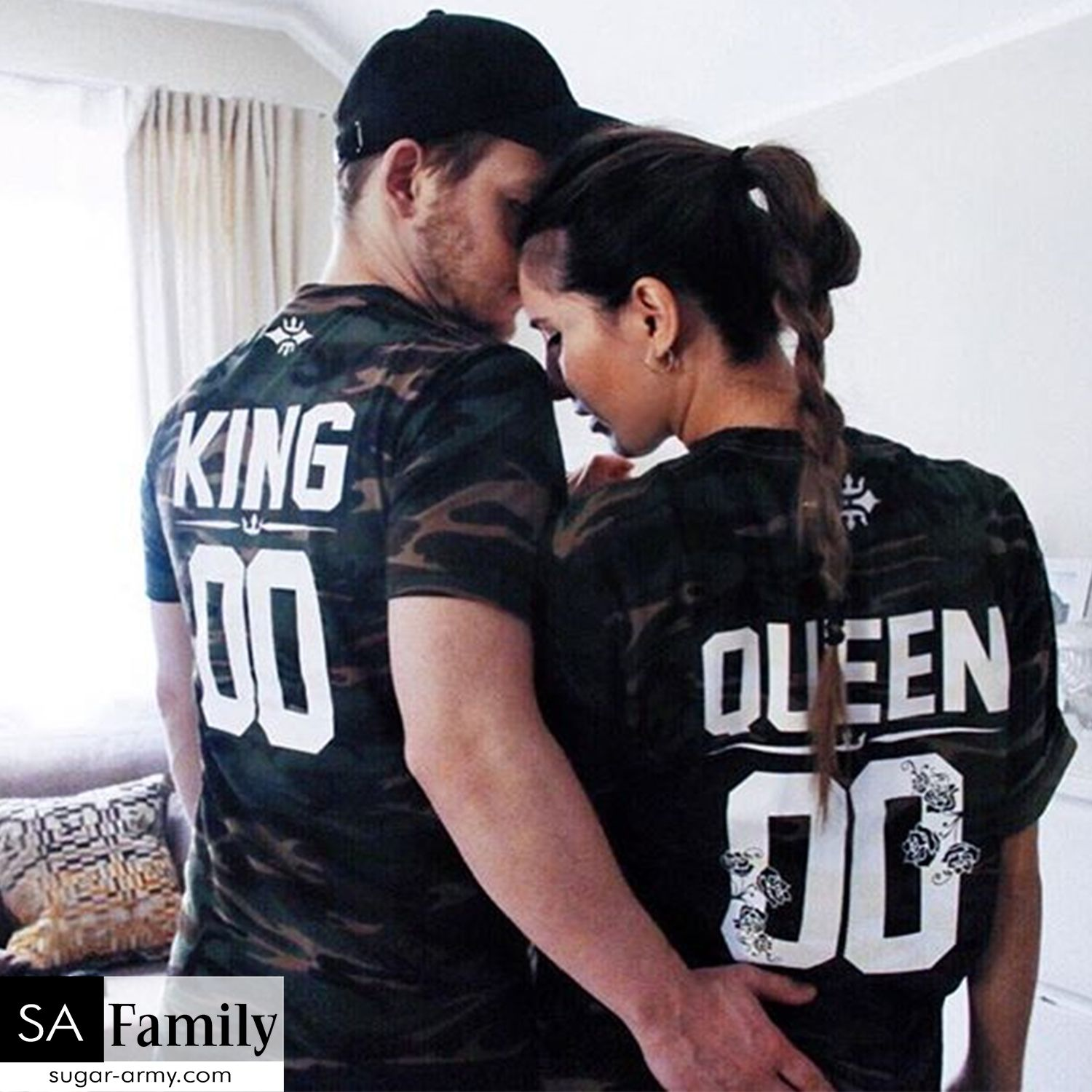 7438d990b King and Queen camouflage print | Custom number t-shirts, King queen camo  shirts, king and queen camo tees, King and Queen Flower design