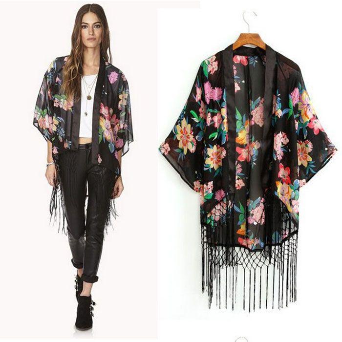 Printed Cardigan Blouse Tassel Fringe Shawl Kimono Cardigan Coat ...