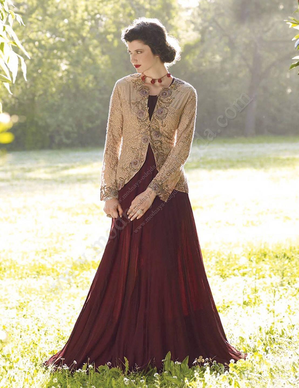 Бордовое  с кремовым длинное платье / костюм