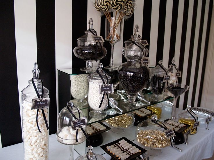 Candy bar theme noir et blanc!! | Candy Station Ideas in 2019 ...