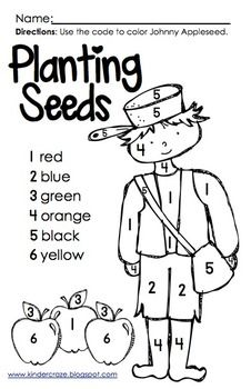 Color By Number Johnny Appleseed Apple Seeds Johnny Appleseed