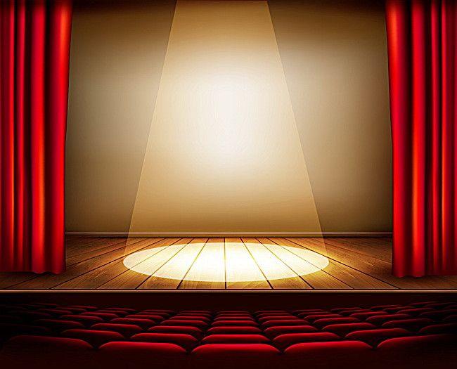 Prozhektor Krasnyj Zanaves Fon Stage Curtains Red Curtains