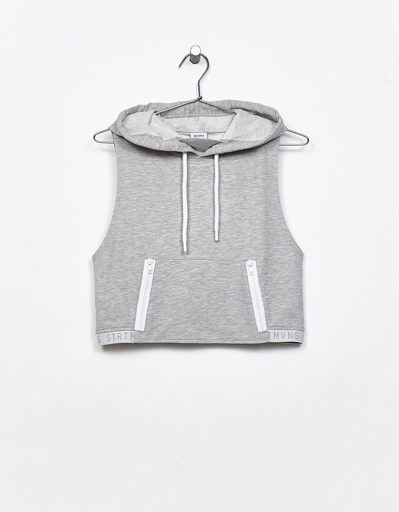 Kapüşonlu cropped spor sweatshirt