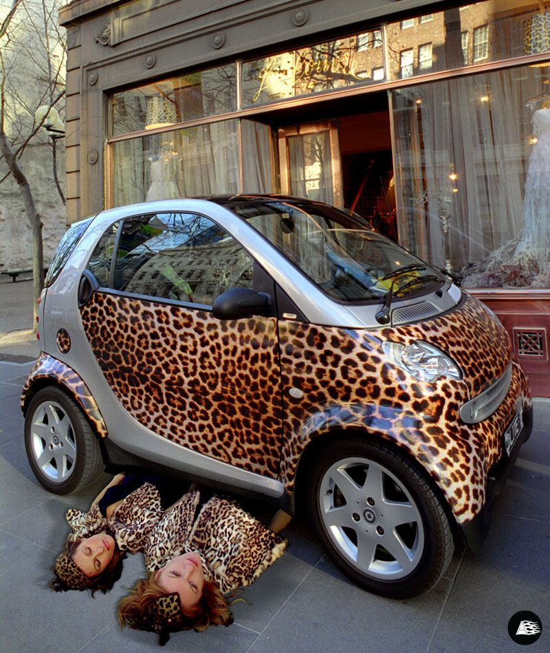 Le Louvre Leopard Skin Full Vehicle Wrap Smart Fortwo Themed