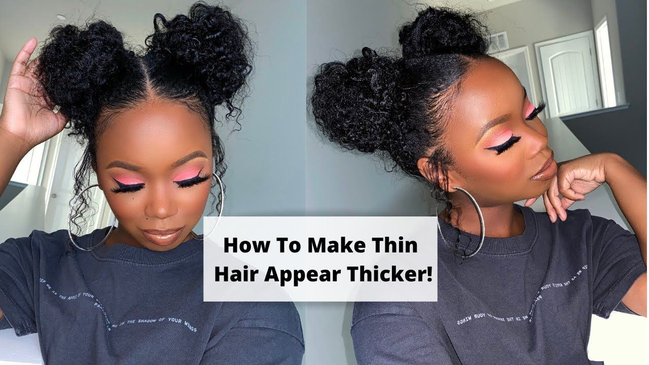 How To Make Thin Hair Look Thicker Double Braid Out Buns With No Weave In 2020 Hairstyles For Thin Hair Braid Out Thining Hair