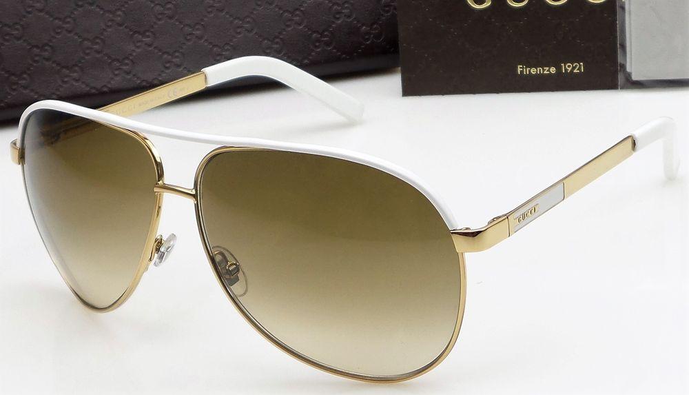 0ce91f4ccb3f GUCCI GG 1827/S BNCIS Ladies Gold/White Frame Pilot Aviator Sunglasses NEW  designer fashion