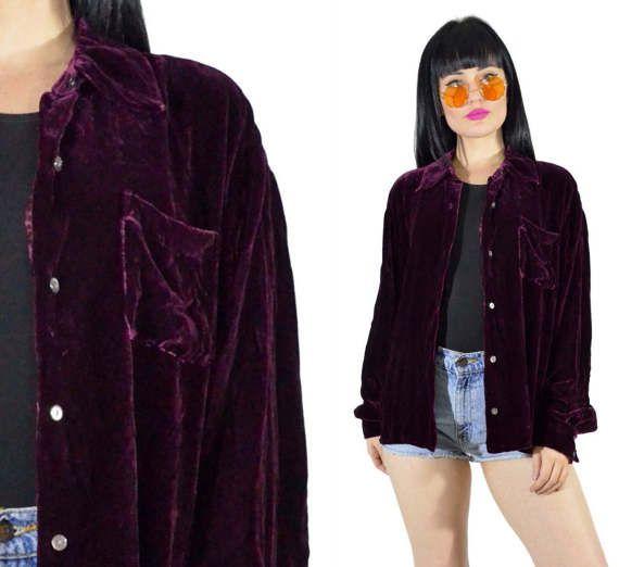 Vintage des années 90 prune écrasée velours chemise par AsIfStore