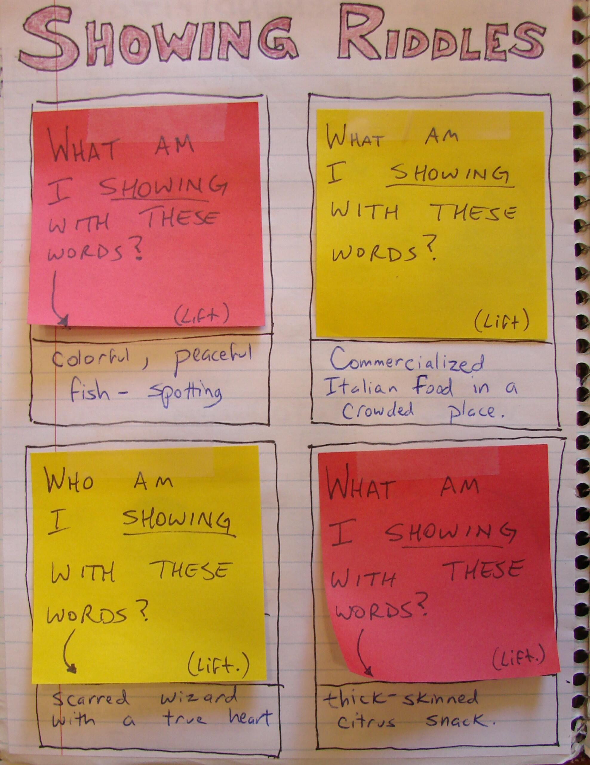 Many of my notebook pages are interactive, like this one that features riddles with answers found below the sticky notes. Students love this idea!  Access the lesson that inspired this page here: http://corbettharrison.com/free_lessons/Show-Dont-Tell.htm