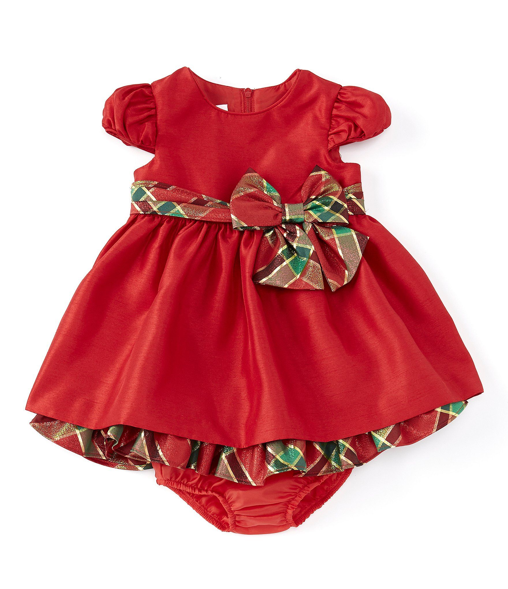 Bonnie Jean Baby Girls Newborn-24 Months Shantung Plaid Bow Fit & Flare Dress | Dillard's
