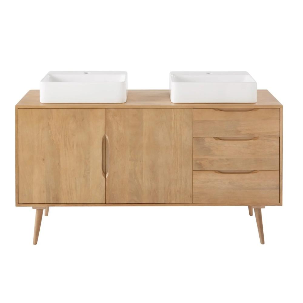 Mueble de cuarto de baño de mango macizo con 2 lavabos ...