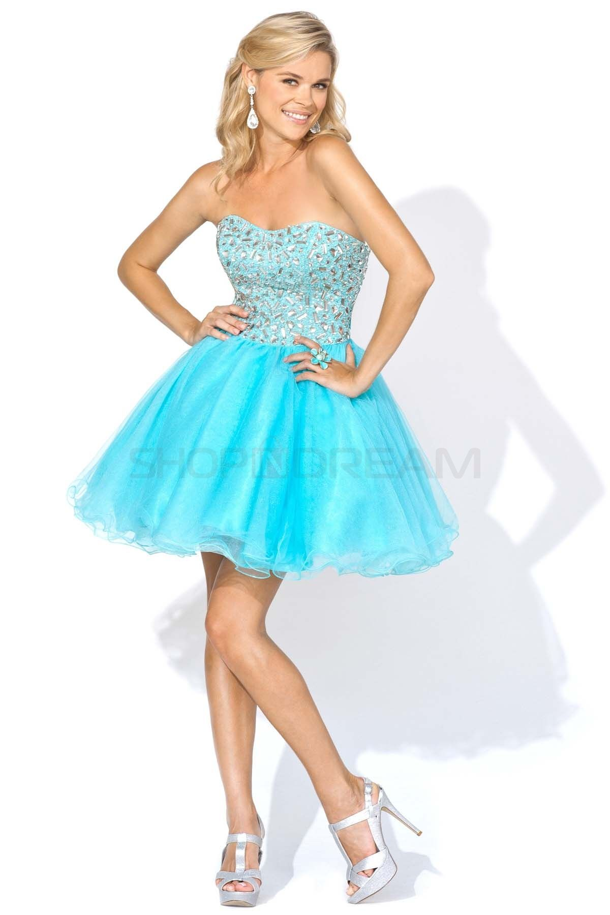 A-line Sweetheart Beading Stones Tulle Short Blue Party Dress ...