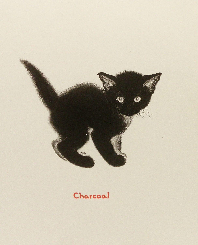 Cat Art Print Black Cat Art Vintage Cat Illustration Chat Etsy Black Cat Art Cats Illustration Cat Art Print