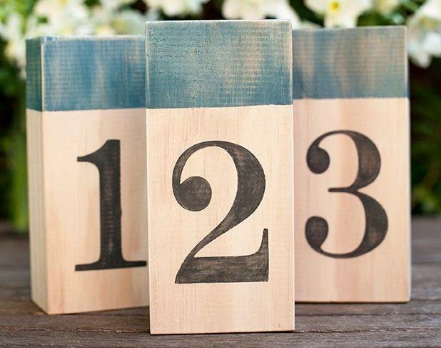 diy Wedding Crafts: Wood Block Table Numbers - http://www ...