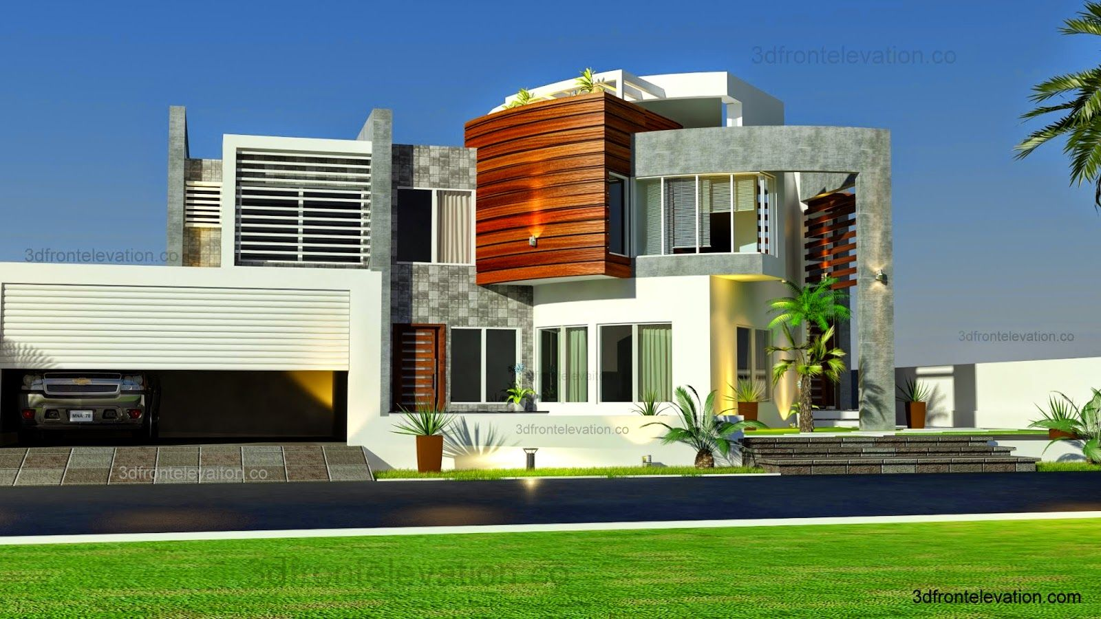 3d front oman modern contemporary villa 3d for Villa design in pakistan
