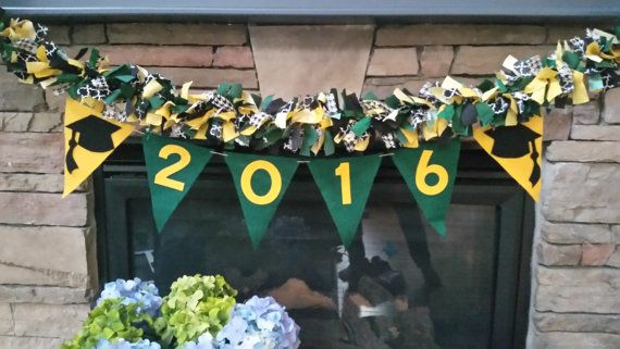 2016 2017 Green And Gold Baylor Graduation Rag Garland Gold Graduation Party Green Graduation Party Graduation Party Decor