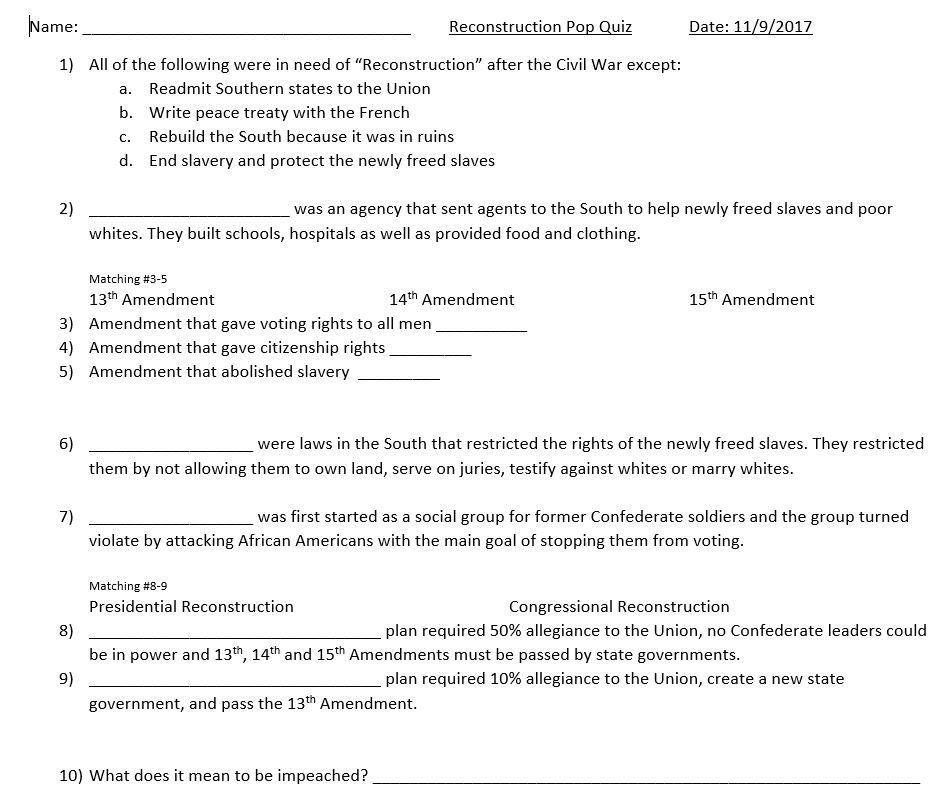 Reconstruction Quiz Levels of understanding, This or