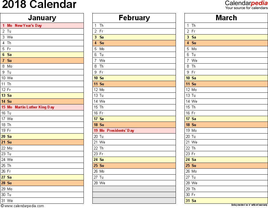 Template   Calendar For Excel Months Horizontally  Pages