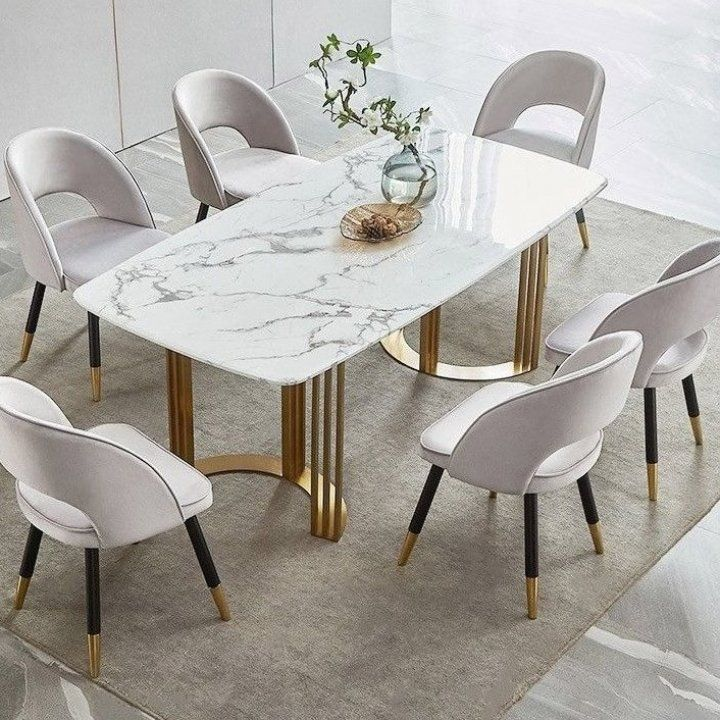 Faux Marble Dining Table Gold Dining Table Rectangular Stainless Steel Dining Table 6 Seat Table Ta In 2020 Dining Table Gold Dining Table Marble Modern Dining Table