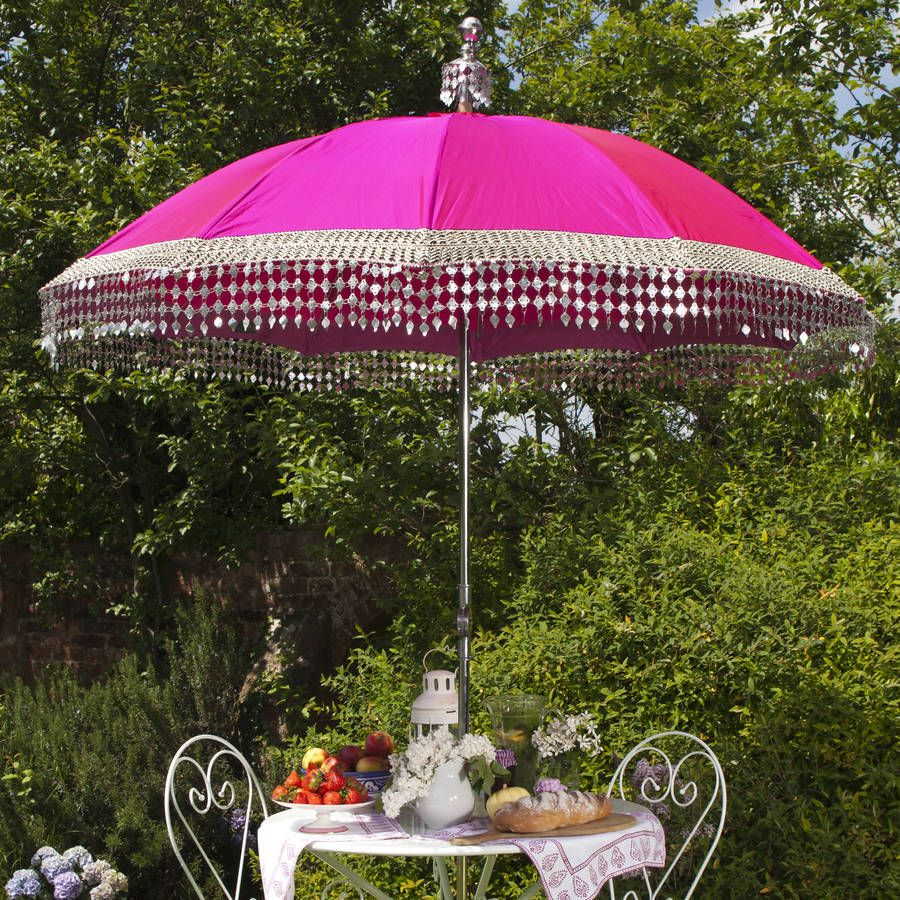 Indian Inspired Garden Parasol With Silver Trim By East London