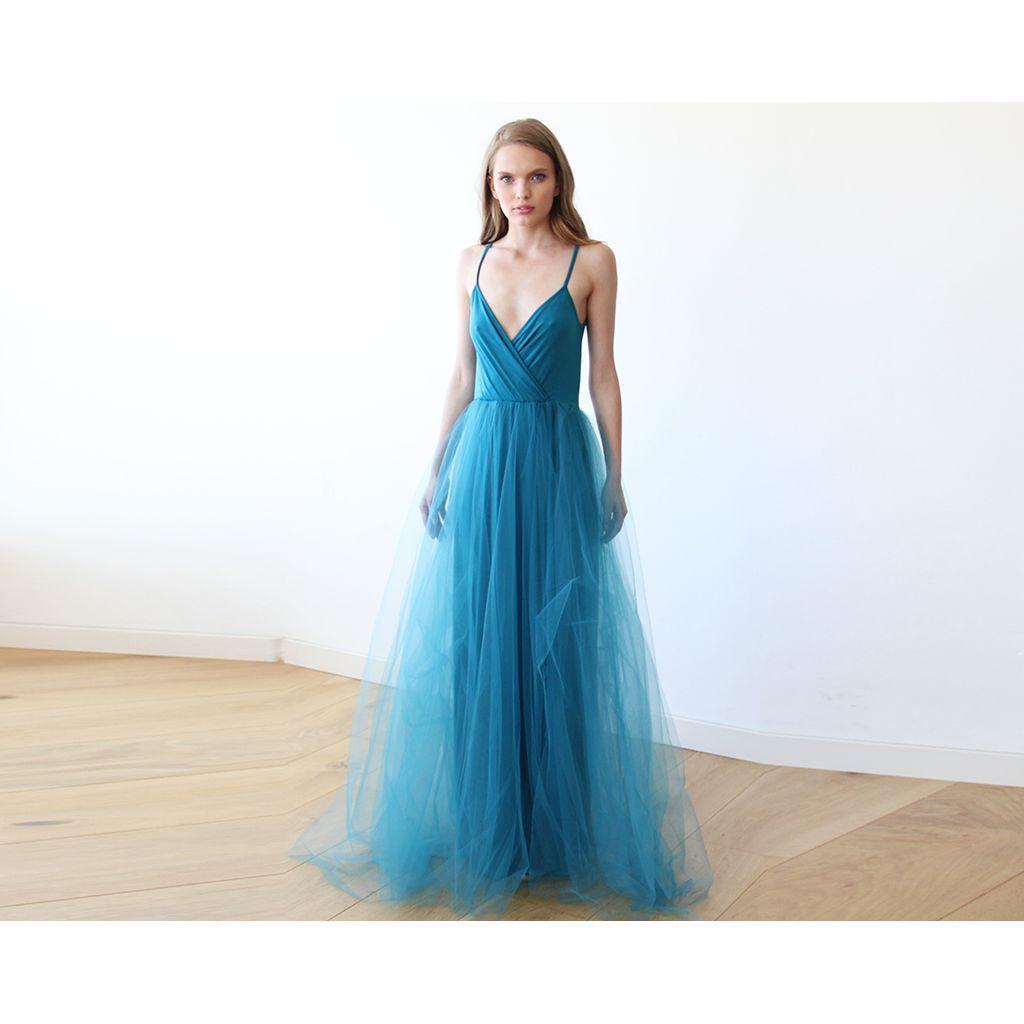 Teal blue straps maxi tulle dress 1053 | Health Yoga | Pinterest ...