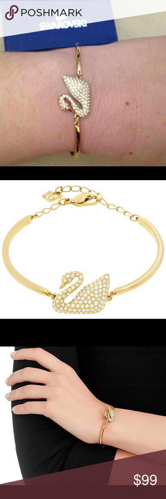 SWAROVSKI Swan Bangle Swan Bangle This refined and timeless gold-plated  bracelet boasts the iconic 6c9d23f6e2