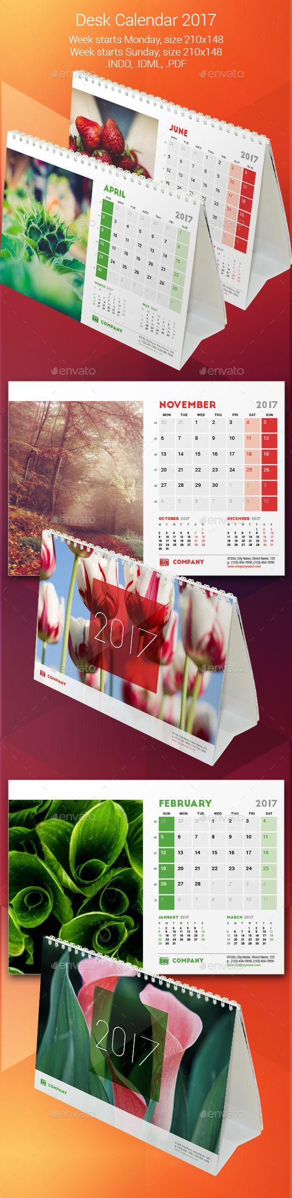 Desk Calendar 2016 Indesign INDD IDML PDF File Template design – Sample Indesign Calendar