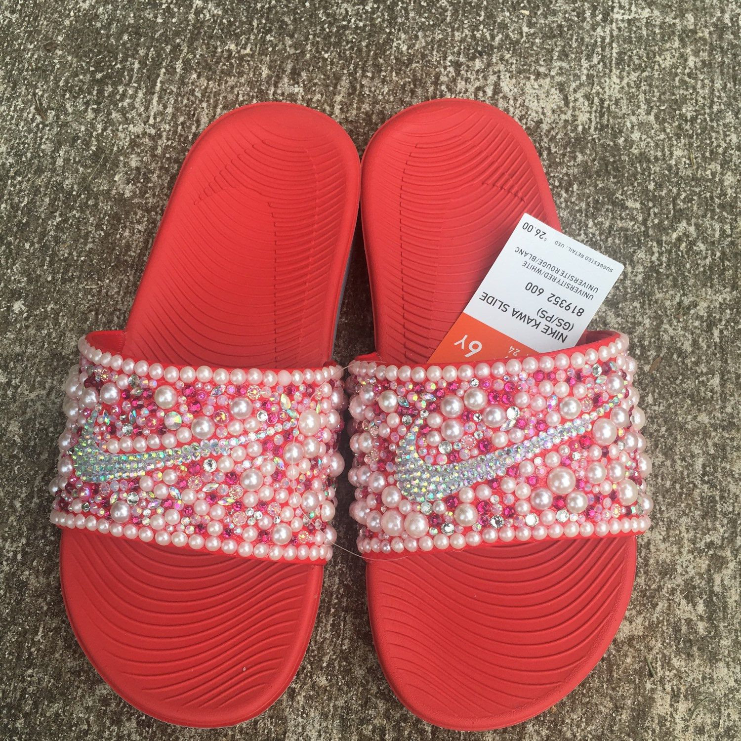 e6c130f31 Candy Red inspired bedazzle Nike Slides Available NOW and for only 45.00.  That is correct