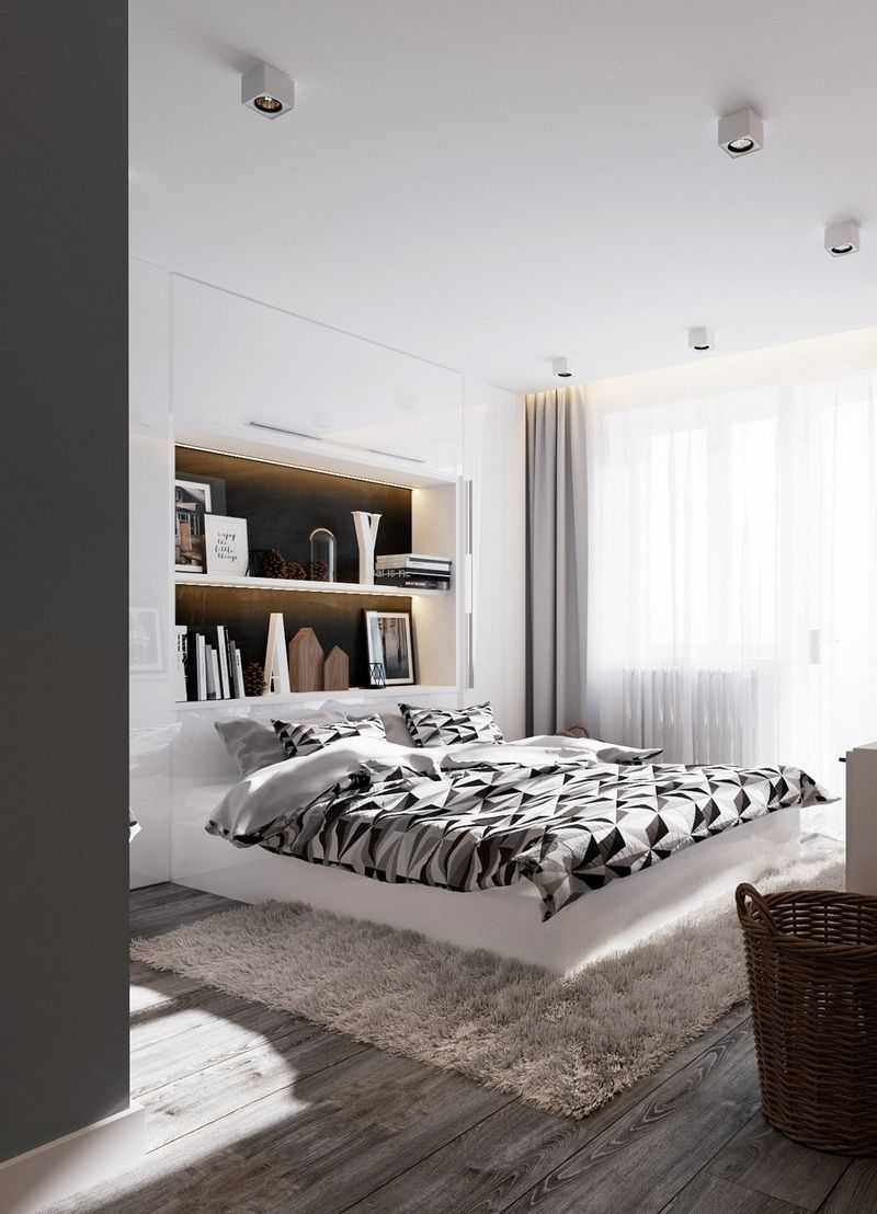d coration chambre adulte g om trique et tapis poil long. Black Bedroom Furniture Sets. Home Design Ideas