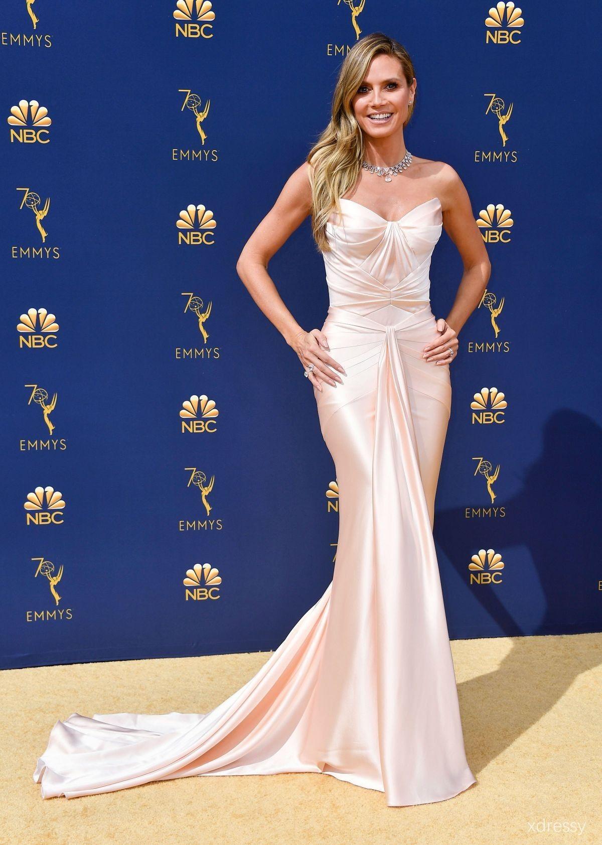 70c8c4d4639 Heidi Klum Blush Satin Strapless Mermaid Long Evening Gown Emmys 2018 Red  Carpet