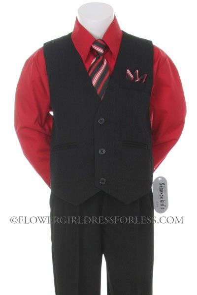Boys Vest Set Style 7000 Red Shirt With Black Vest And