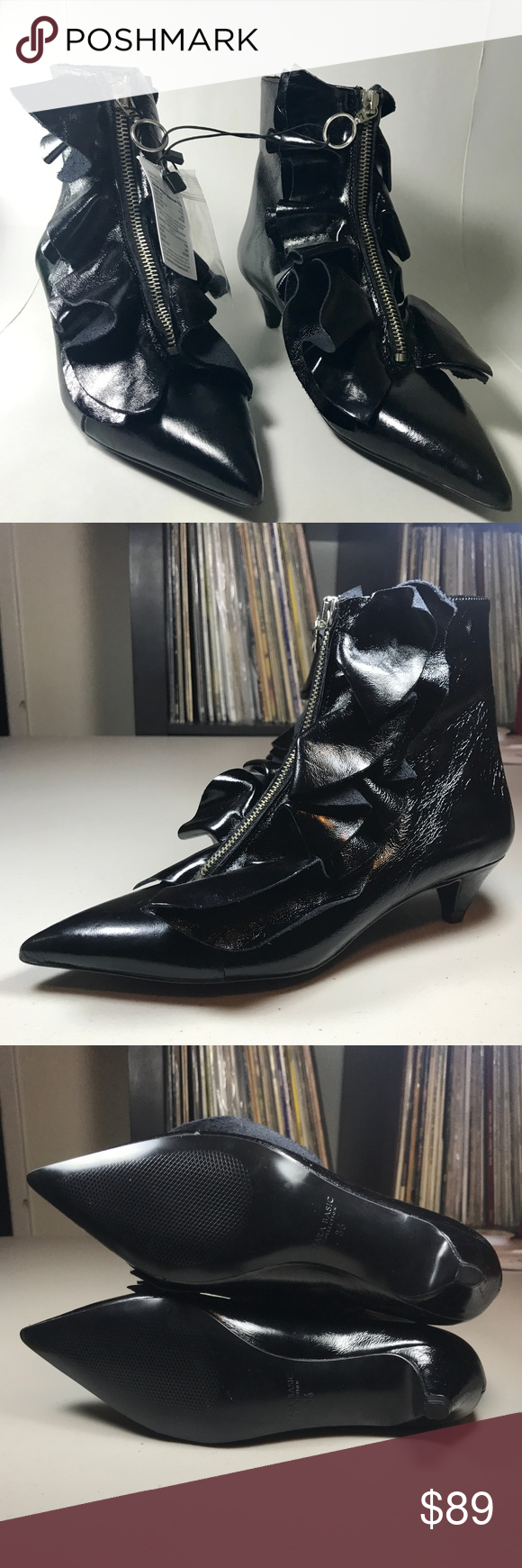 Zara Patent Leather Ruffle Ankle Boots Kitten Heel Fashion Deals Zara Shoes Patent Boots