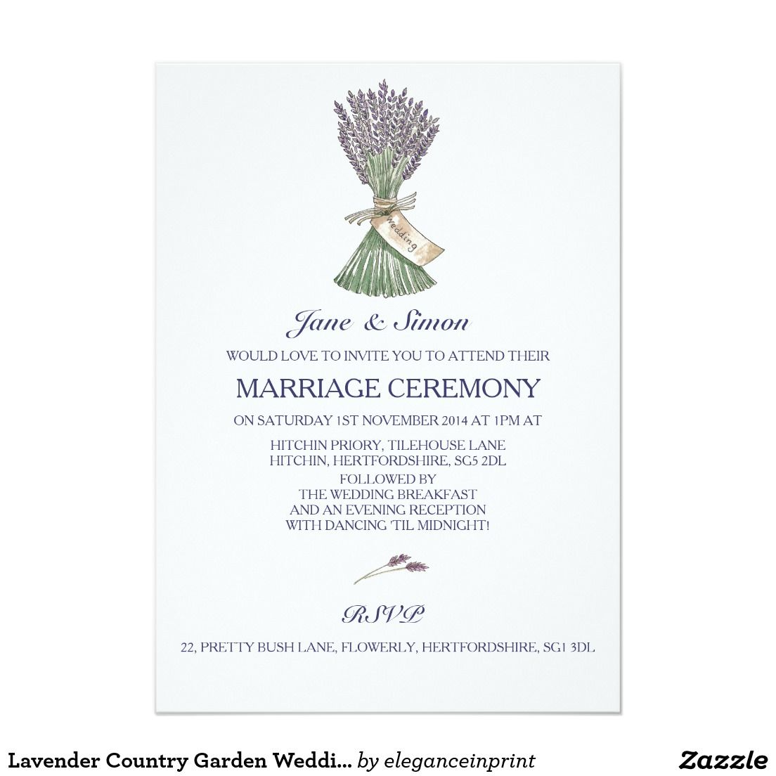 Lavender Country Garden Wedding Invitation | Gardens, Garden ...