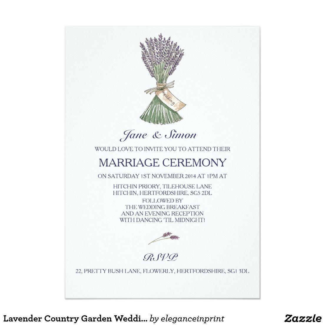 Lavender Country Garden Wedding Invitation